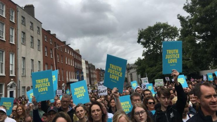 Thousands gather for Stand4Truth demonstration in Dublin during Phoenix Park mass