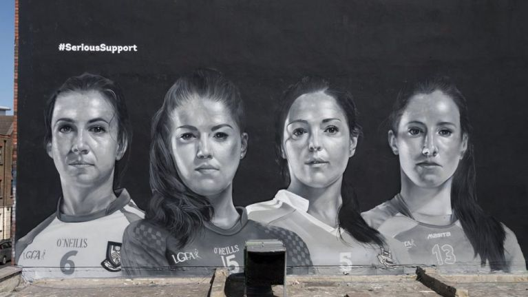 An 18-foot mural of four Gaelic football stars has been erected ahead of the Ladies' Football Final