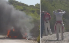 WATCH: Irish rally driver escapes unharmed as car catches fire in WRC in Turkey