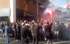 WATCH: PSG Ultras storm Liverpool town centre with flares
