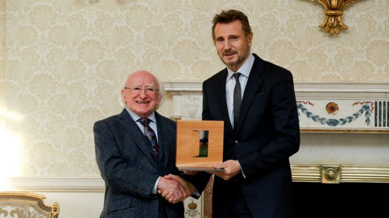 Liam Neeson granted the Distinguished Service Award in Áras an Uachtaráin