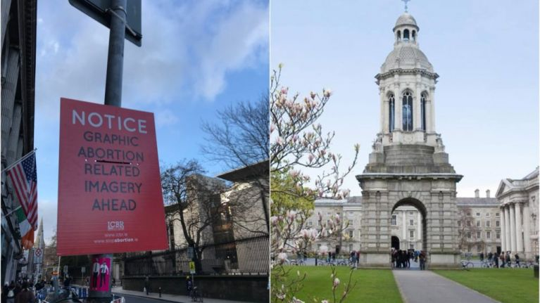 Graphic anti-abortion posters spotted outside Trinity College for the second time this week