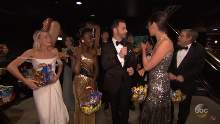 WATCH: Jimmy Kimmel and Gal Gadot had a huge surprise for moviegoers midway through the Oscars