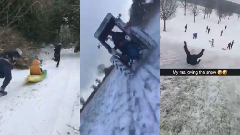 WATCH: Three very different but equally brilliant Irish variations on snow-sledding