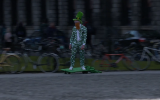 WATCH: St. Patrick's been whizzing around Dublin on a skateboard ahead of his big day