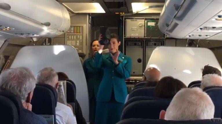 WATCH: Irish fans travelling to Twickenham greeted with a lovely surprise on Aer Lingus flight