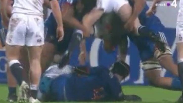 Horrific tackle by two U-20 French players against English opponent results in double red card