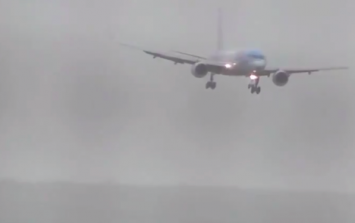 WATCH: Startling footage of a plane forced to land sideways by Storm Callum