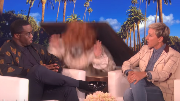 WATCH: Diddy had the absolute sh*t scared out of him by a clown on The Ellen Show