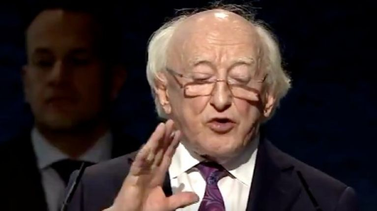 "President Michael D. Higgins promises to lead ""an Ireland committed to a peaceful world"" in passionate victory speech"