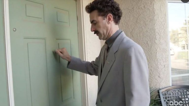 "WATCH: Borat returns to ""help Trump win the election"""