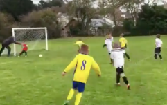 WATCH: Dad pushes son to try and make save in contender for video of the year