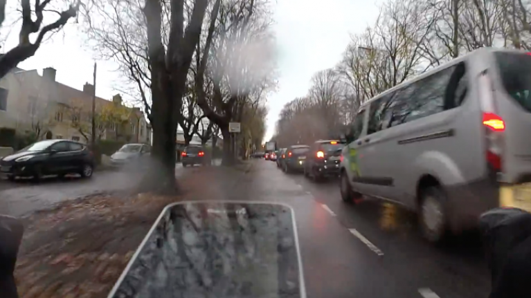 WATCH: Driver dangerously uses footpath to skip traffic in Dublin