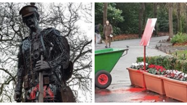 The WWI 'Haunting Soldier' sculpture in St Stephen's Green has been vandalised with red paint