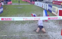 WATCH: Cross country runner's attempt at a knee slide fails miserably