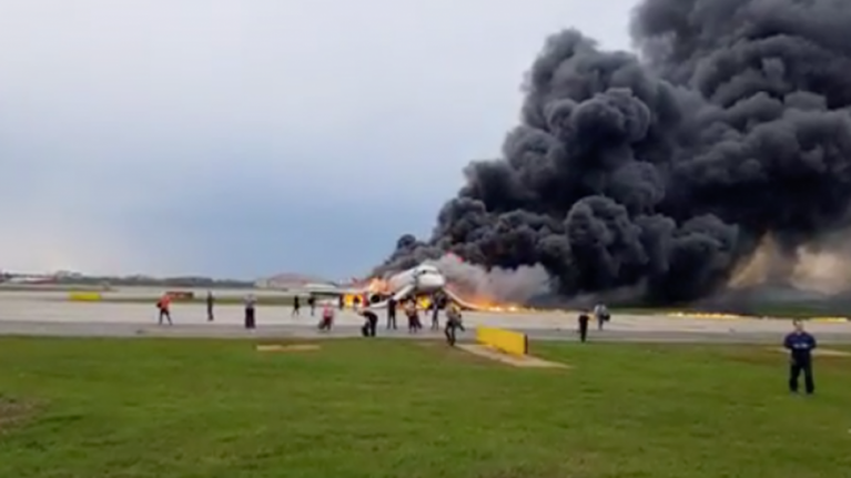 At least 41 killed in Russian plane after it burst into flames during emergency landing