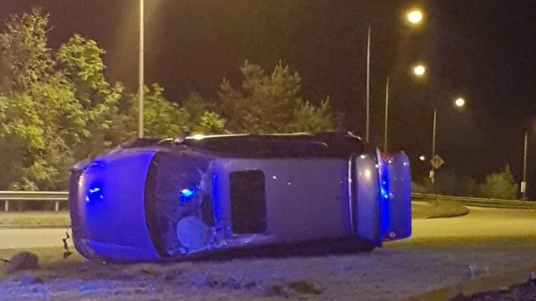 Garda in Kildare share images of flipped car that failed to stop after being caught speeding