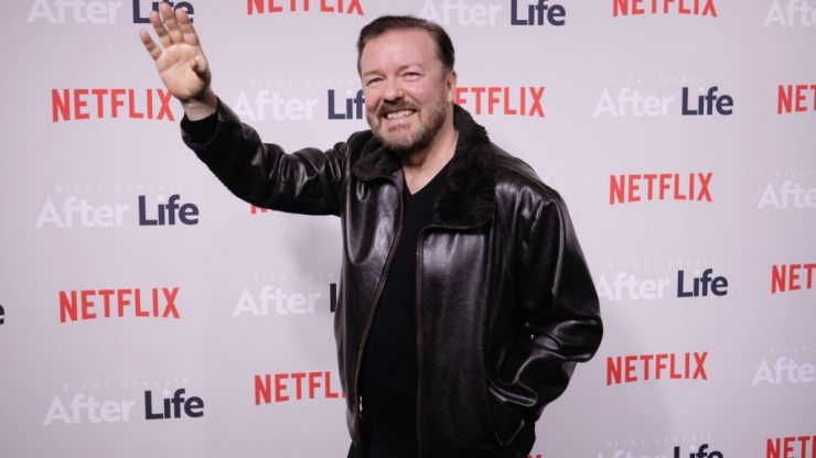 """Ricky Gervais says people milkshaking politicians """"deserve a smack in the mouth"""""""