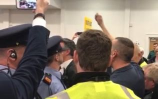 WATCH: Eoghan Murphy surrounded by protestors at election count centre
