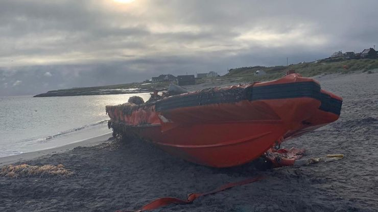 Vessel washed up near Aran Islands likely used for target practise by US Navy