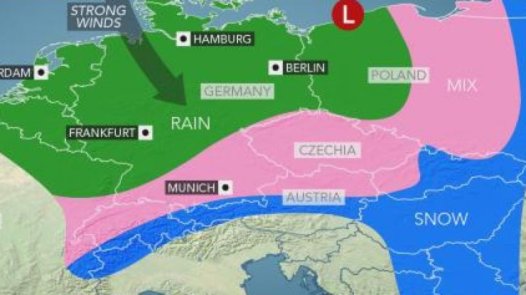 Mainland Europe continues to be pummelled by snow and storms