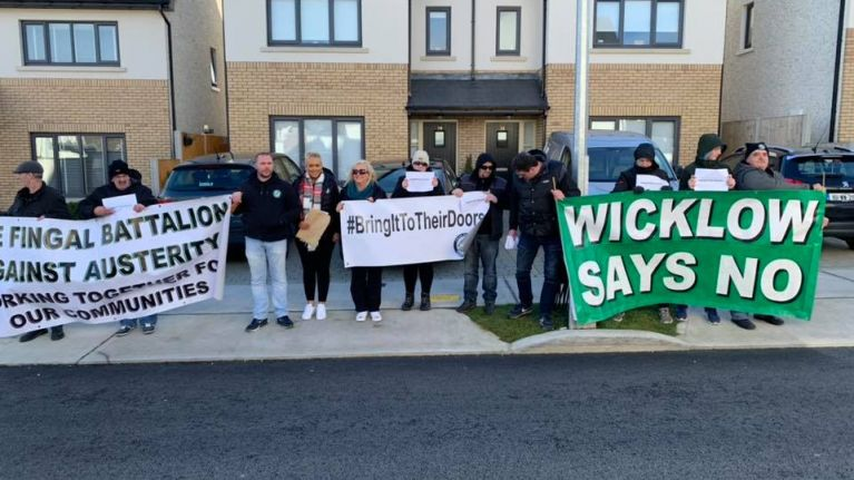 Protest group shares photos and videos from outside Simon Harris' home