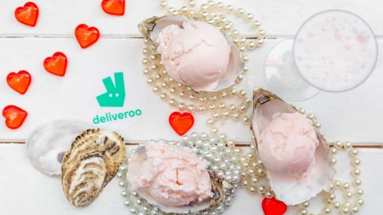 Deliveroo have created an oyster and champagne flavoured ice-cream just for Valentine's Day