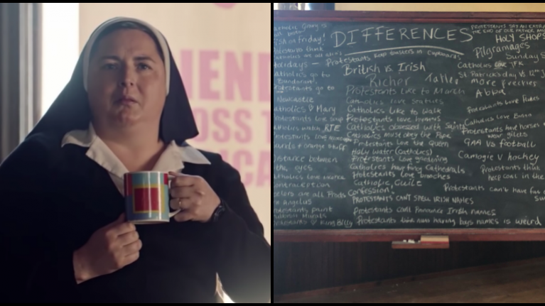 The hilarious Derry Girls scene of Catholic vs Protestant gags is now available to watch