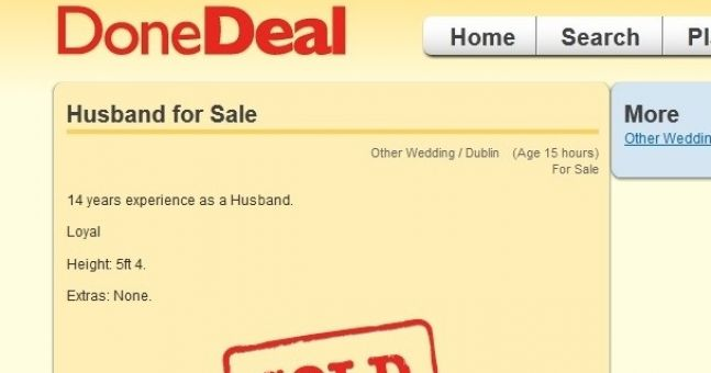Scorned wife sells husband on DoneDeal.ie
