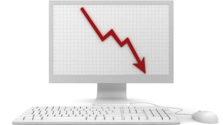Decline in number of jobs advertised on job hunting website