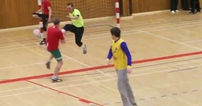 Video: Some fairly rough stuff goes on in Icelandic indoor soccer