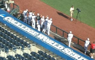 Picture: The lads at the College World Series of baseball can't spell college