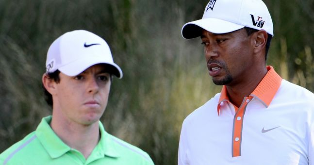 Picture: Tiger Woods psychs out Rory McIlroy before the US Open
