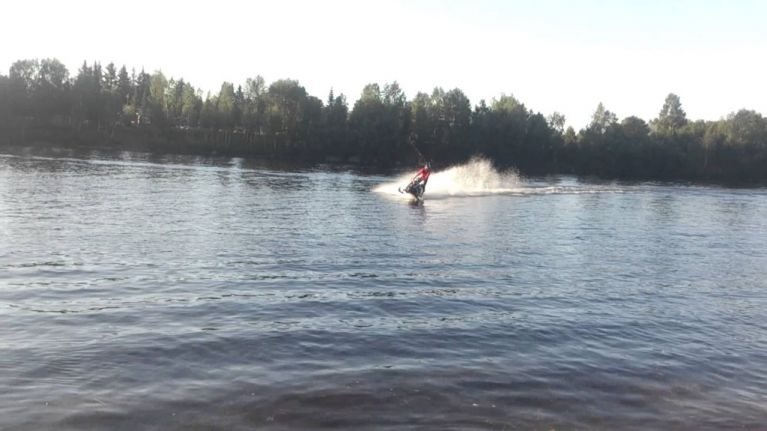 Video: Finish man sets world record after driving 180km over water on a snowmobile