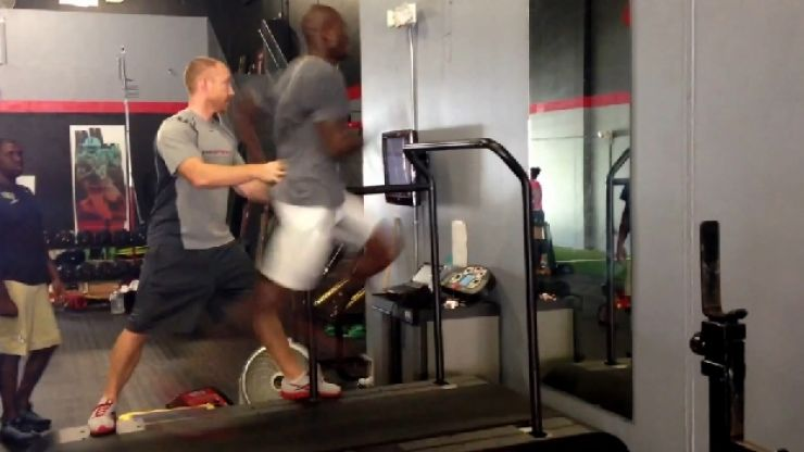 Video: Chad 'Ochocinco' Johnson running at 24mph on a treadmill at an incline