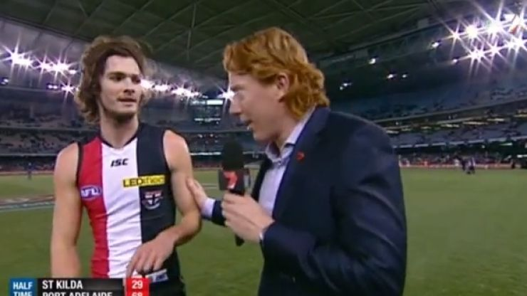 Video: AFL player a little groggy during interview after monster on-field hit