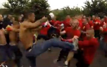 Video: Mental footage of a punch-up between two gangs of football hooligans in Denmark
