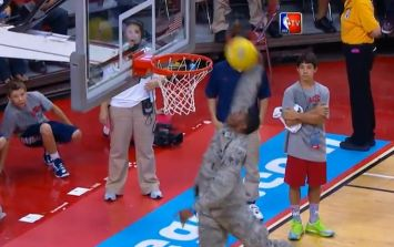 Video: Solider shows the pros how it's done with incredible windmill dunk