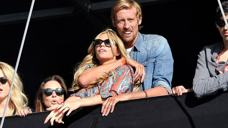 Video: Peter Crouch almost drops his girlfriend Abbey Clancy off his shoulders while partying in Ibiza