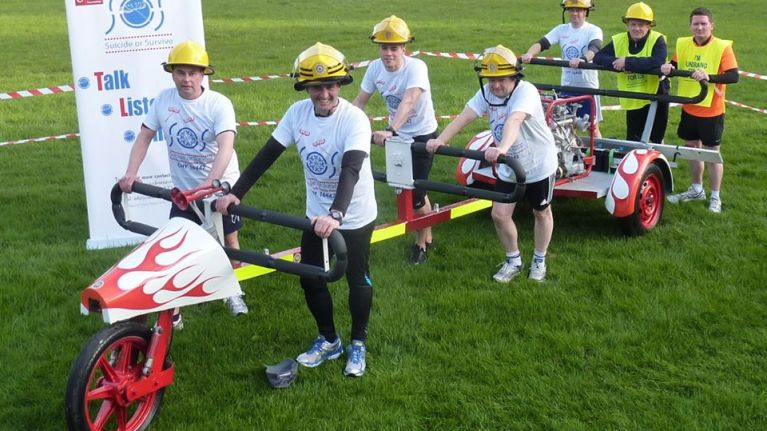 Dublin Fire Brigade gets set to run from Dublin to Belfast while pushing a half-tonne pump...
