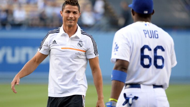 Video: Cristiano Ronaldo can't throw a baseball nearly as good as he can kick a football