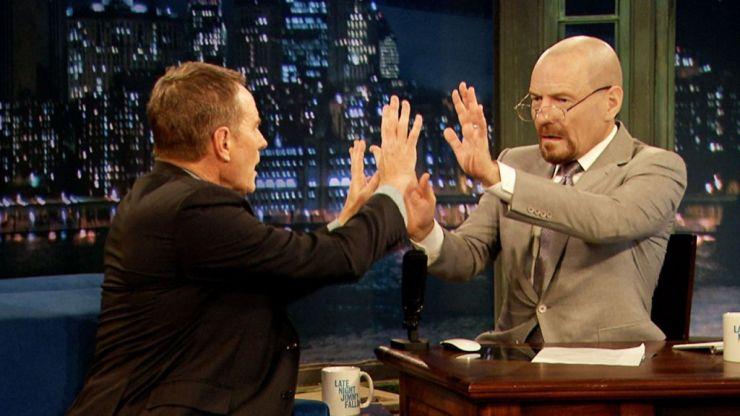 Video: Jimmy Fallon interviews Bryan Cranston while wearing a Walter White mask
