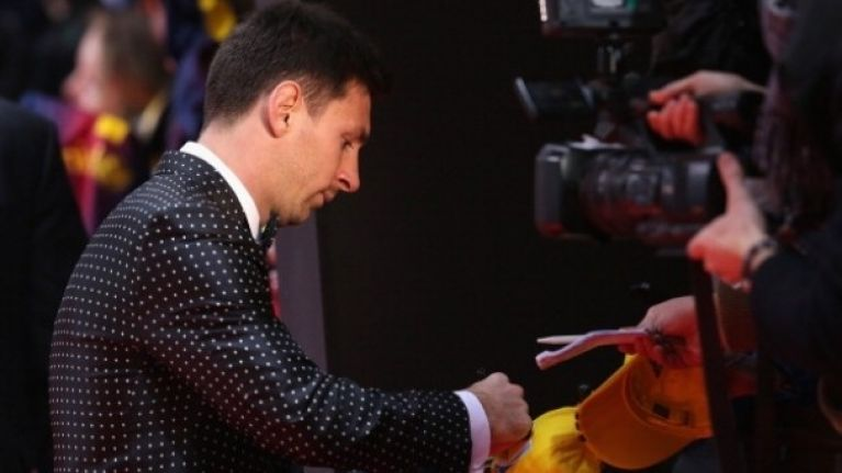 Leo Messi won't be winning any style awards at the Ballon D'Or ceremony tonight