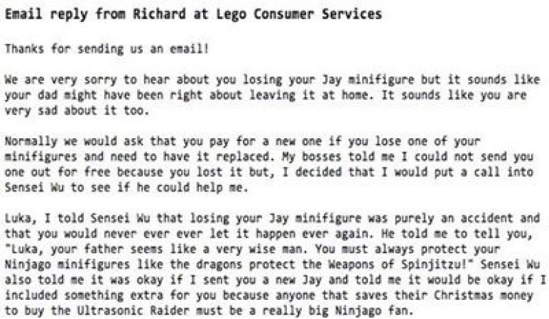 LEGO provide awesome customer service for a seven-year-old kid ...
