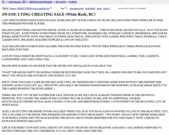 Scorned wife uses Craigslist to sell cheating husband's