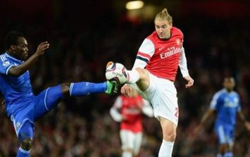 Nicklas Bendtner's rare appearance tonight for Arsenal did not go down well