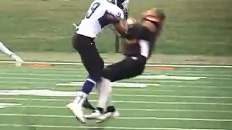 Video: Helmet and gumshield go flying in this bone-shuddering hit from College Football in the US