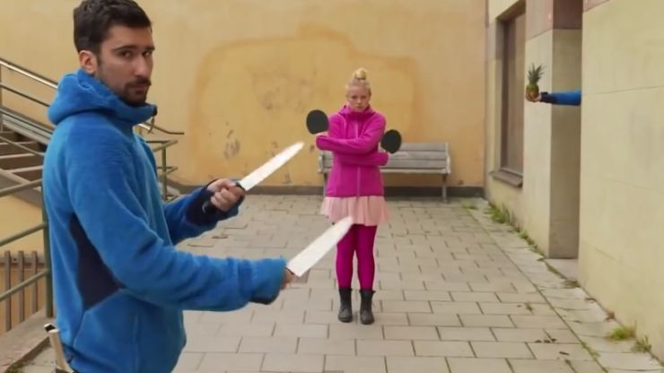 Video: We don't have the words to describe how incredible these knife tricks are