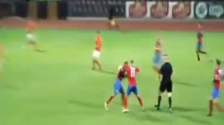 Video: Lithuanian team-mates have an on-pitch dust-up