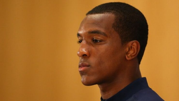 Pic: Andre Wisdom's attempt to get to work results in his Porsche getting stuck in the woods